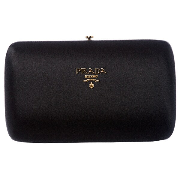 Prada 'Raso' Black Satin Box Clutch