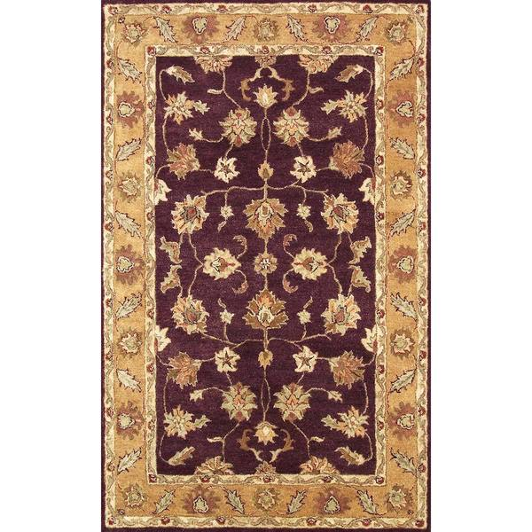 Shop Golden Burgundy Gold Wool Area Rug Free Shipping Today
