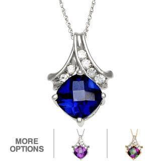 10k White Gold Checkerboard Gemstone Necklace