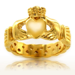 ELYA Gold Plated Polished Stainless Steel Claddagh Celtic Eternity Knot Ring - 4mm Wide