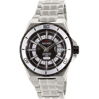 Precimax Men's Stark Automatic PX13214 Silver Stainless-Steel Black Dial Automatic Watch