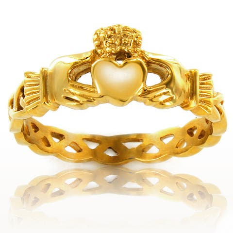 ELYA Goldplated Stainless Steel Girls 3mm Celtic Claddagh Ring