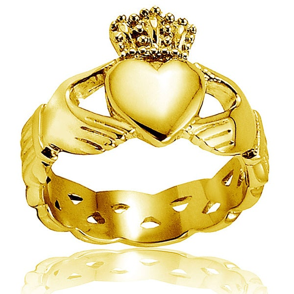 Crucible Gold Plated Polished Stainless Steel Claddagh Celtic Ring