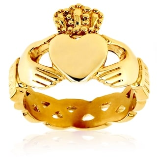 Crucible Gold Plated Polished Stainless Steel Claddagh Eternity Celtic Ring - 15mm Wide