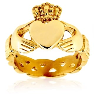 Crucible Gold Plated Polished Stainless Steel Claddagh Celtic Ring (5 options available)