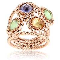 Rose Gold Twisted Band Crystal Polished Stainless Steel Ring - 21mm Wide