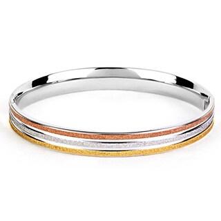 Stainless Steel Tri-tone Sandblasted Bracelet