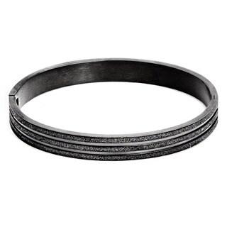 Black-plated Stainless Steel Sandblasted Bracelet