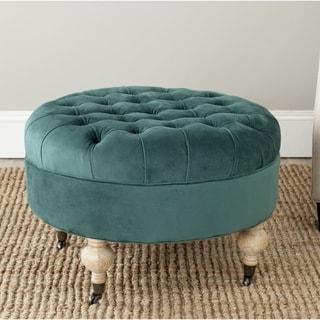 Safavieh Clara Marine Cotton Fabric Round Ottoman