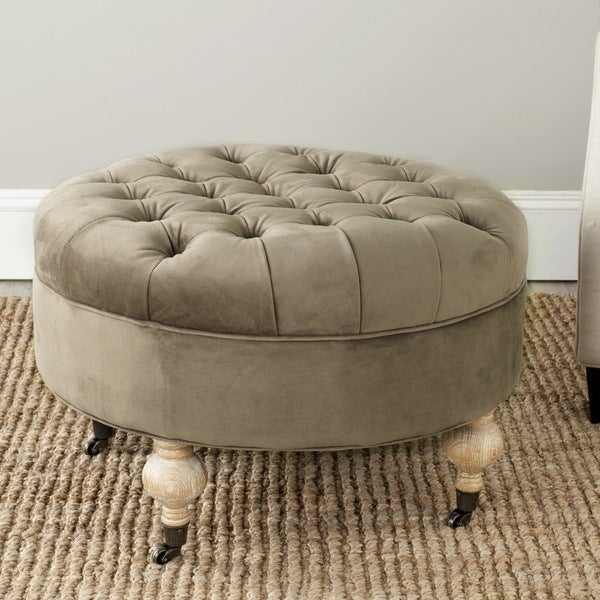 Safavieh Clara Mushroom Taupe Cotton Fabric Round Ottoman
