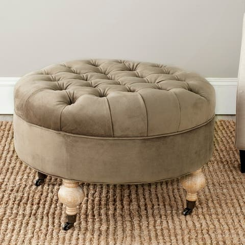 Safavieh Clara Mushroom Taupe Cotton Fabric Round Ottoman