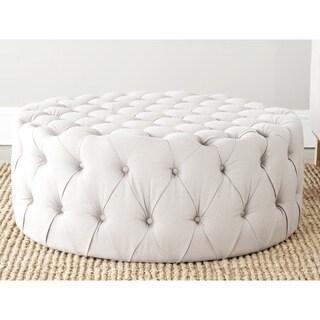 Safavieh Charlene Taupe Linen Fabric Ottoman