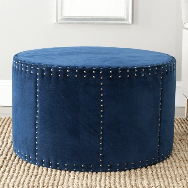 Shop Safavieh Sherri Navy Cotton Fabric Ottoman On Sale