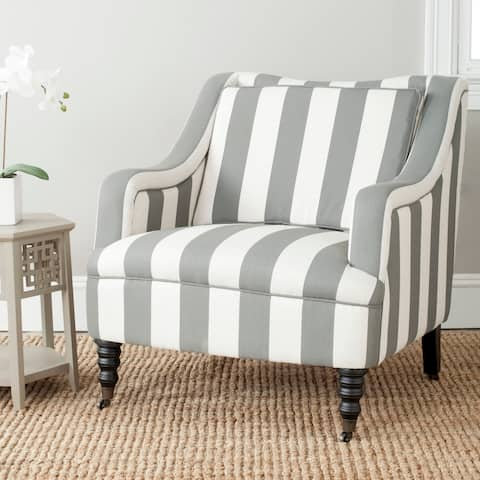 "Safavieh Homer Greyish Blue/ White Stripe Arm Chair - 31.9"" x 33.5"" x 33.9"""