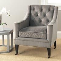 Safavieh Sherman Mushroom Taupe Cotton Fabric Arm Chair