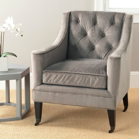 "Safavieh Sherman Mushroom Taupe Cotton Fabric Arm Chair - 28.7"" x 31.5"" x 35.8"""