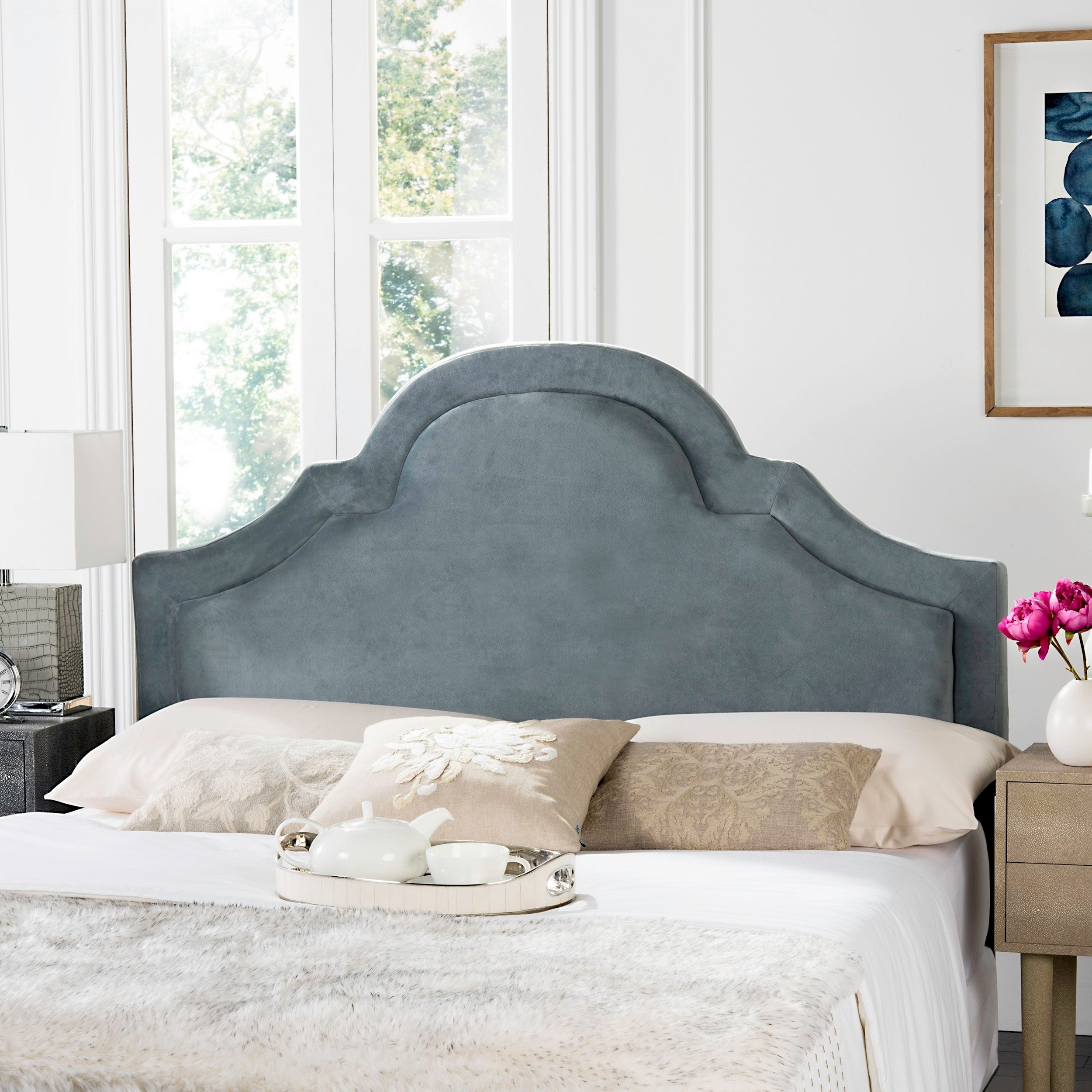 Shop Safavieh Kerstin Wedgwood Blue Upholstered Arched Headboard Queen On Sale Overstock 8419850