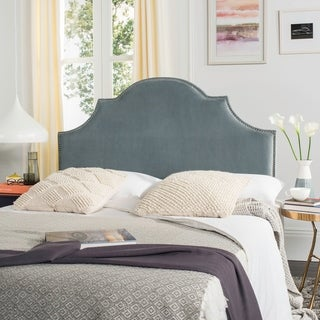 Safavieh Hallmar Wedgwood Blue Upholstered Arched Headboard - Silver Nailhead (Queen)