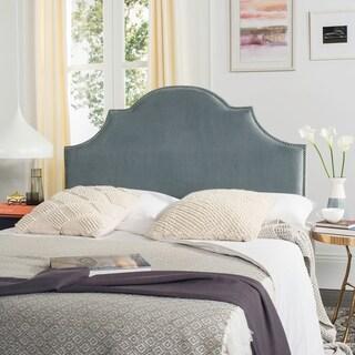 Safavieh Hallmar Wedgwood Blue Upholstered Arched Headboard - Silver Nailhead (Queen)