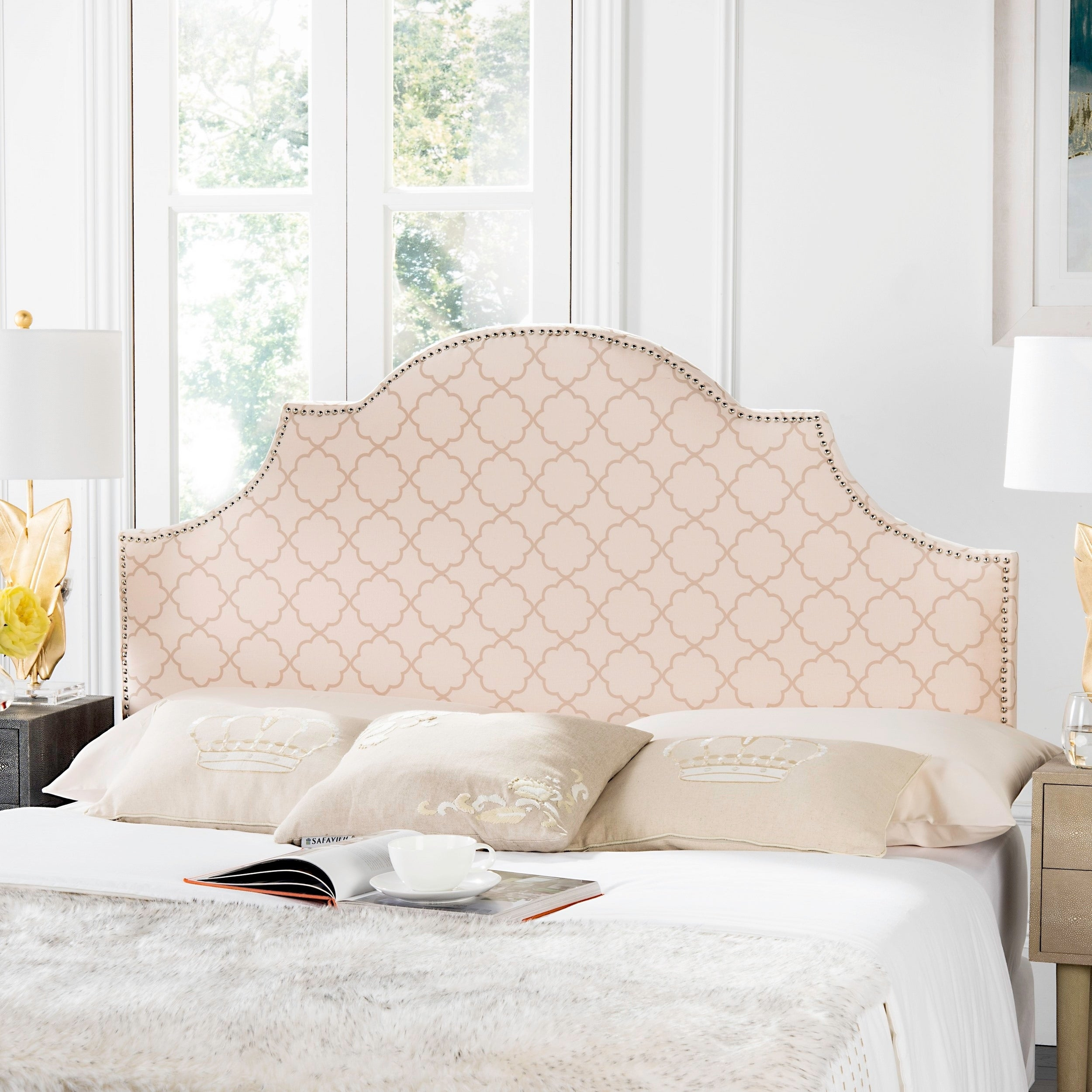 Shop Safavieh Hallmar Pale Pink Beige Upholstered Arched Headboard Silver Nailhead Queen On Sale Overstock 8419852