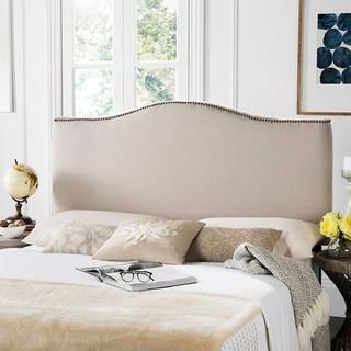 Safavieh Jeneve Taupe Linen Upholstered Camelback Headboard - Brass Nailhead (Queen)