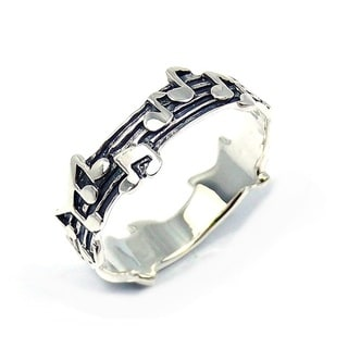 Whimsical Melody Musical Notes .925 Silver Band Ring (Thailand)
