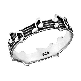 Handmade Whimsical Melody Musical Notes .925 Sterling Silver Band Ring (Thailand)
