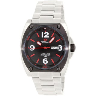 Precimax Men's Fortis Automatic PX13211 Silver Stainless-Steel Black Dial Automatic Watch