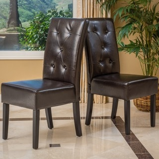 Link to Taylor Brown Bonded Leather Dining Chair (Set of 2) by Christopher Knight Home Similar Items in Dining Room & Bar Furniture