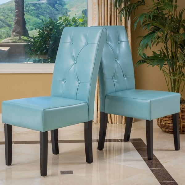 Taylor Blue Bonded Leather Dining Chair Set Of 2 By Christopher Knight Home