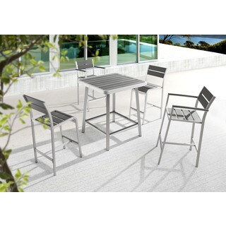 Megapolis Grey Brushed Aluminum Bar Chair