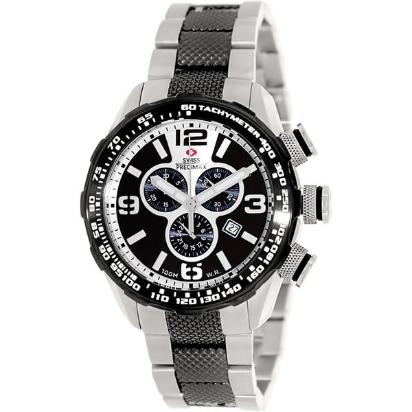 Swiss Precimax Men's Deep Blue Pro III SP13131 Two-Tone Stainless-Steel Silver Dial Swiss Chronograph Watch