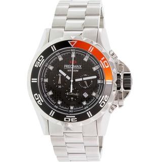 Precimax Men's Carbon Pro PX13235 Silver Stainless-Steel Black Dial Quartz Watch