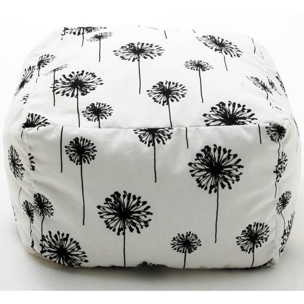 BeanSack White and Black Dandelion Print Cube Bean Bag Ottoman