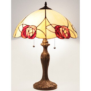 Tiffany-style Scalloped Rose Table Lamp