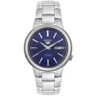 Seiko Men's 5 Automatic SNKA05K Silver Stainless-Steel Automatic Watch with Blue Dial