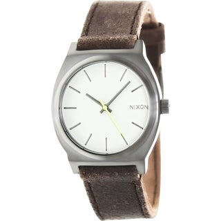 Nixon Men's Time Teller A0451388 Brown Leather Quartz Watch with Grey Dial