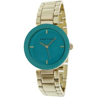 Anne Klein Women's AK-1290TEGB Gold Metal Quartz Watch with Green Dial