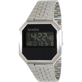 Nixon Men's Re-Run A158000-00 Silver Stainless-Steel Quartz Watch with Digital Dial