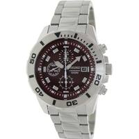 Seiko Men's  Silver Stainless-Steel Quartz Watch with Red Dial