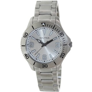 Nautica Men's Silver Stainless-Steel Quartz Watch with Silver Dial