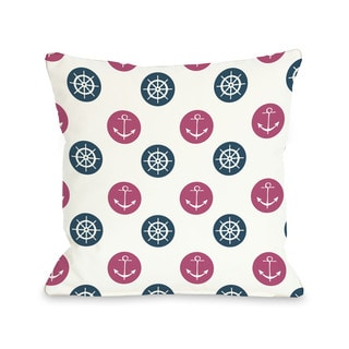 Anchor Wheel Polka Dot Blue Throw Pillow