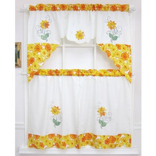 Spring Daisy Tiered Curtain 3-piece Set