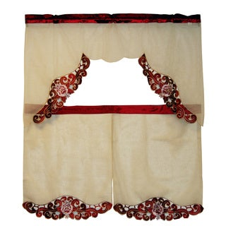 Coral Lace Trim Tiered Curtain 3-piece Set