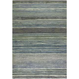 Easton Vibrato/ Tan-Teal Power-loomed Area Rug (3'11 X 5'3)