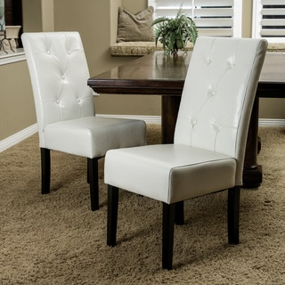 Taylor Ivory Leather Dining Chair Set of 2 by Christopher Knight Home
