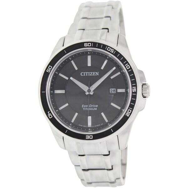 Citizen Men's Eco-Drive BM6920-51E Silver Titanium Quartz Watch with Black Dial