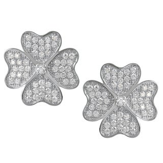 Journee Collection Sterling Silver Cubic Zirconia Clover Earrings