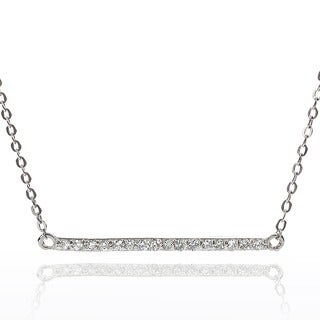 Journee Collection Sterling Silver Cubic Zirconia Bar Necklace