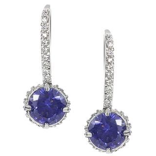 Journee Collection Sterling Silver Purple Cubic Zirconia Drop Earrings